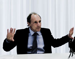 Tim Berners-Lee gesticulating at the launch of...
