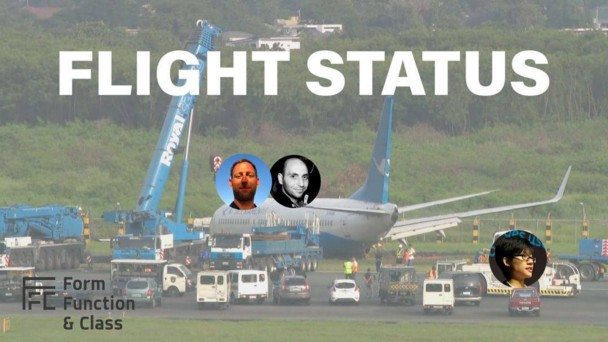 Graphic of airplane crash at NAIA with faces of FFC speakers on it.