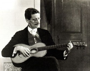 Black and white photograph of Irish author, James Joyce the author of 'Ulysses' and  where Bloomsday got its name.