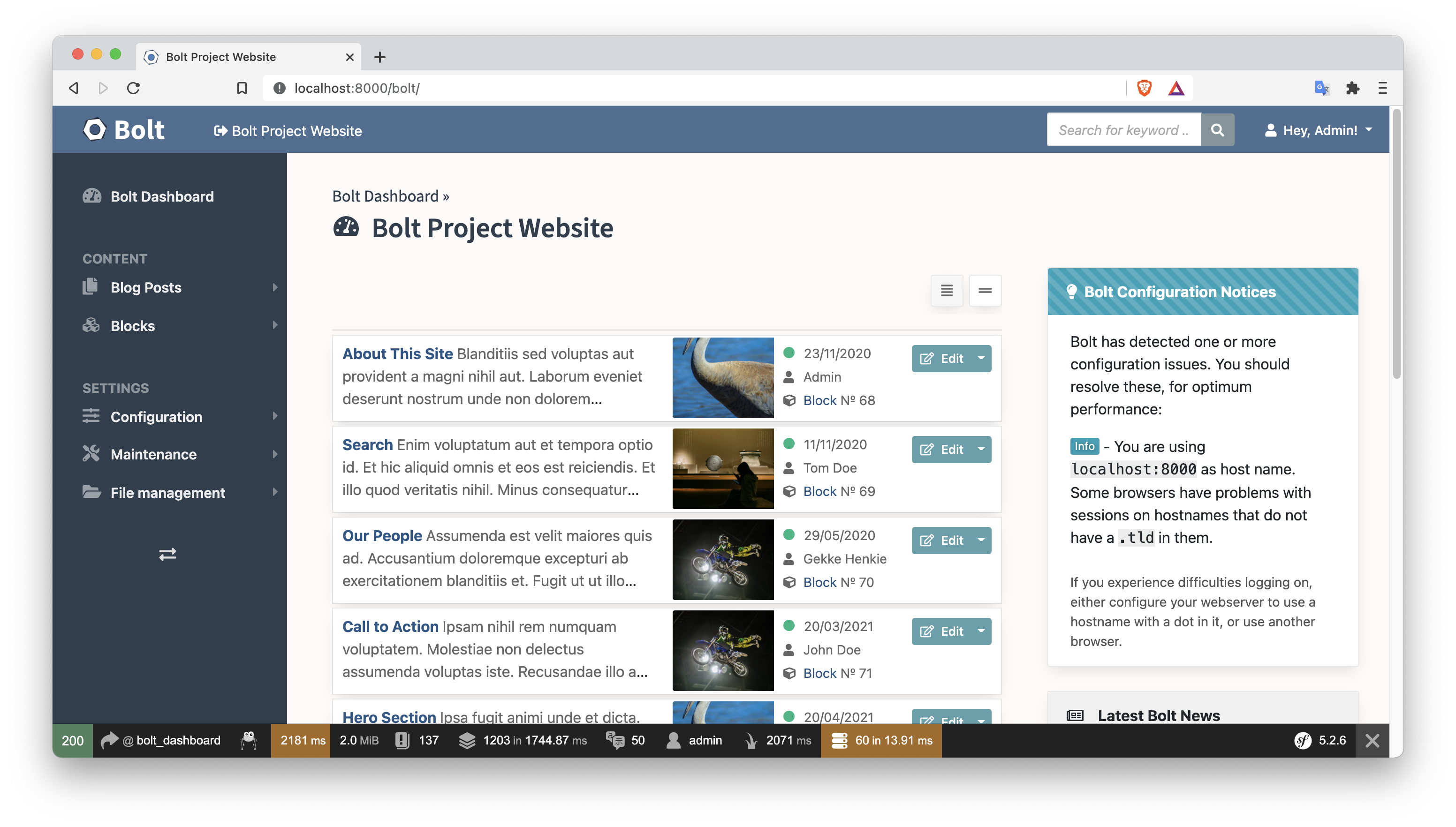 The Bolt Editor showing the Blog Posts and Blocks content types on the left