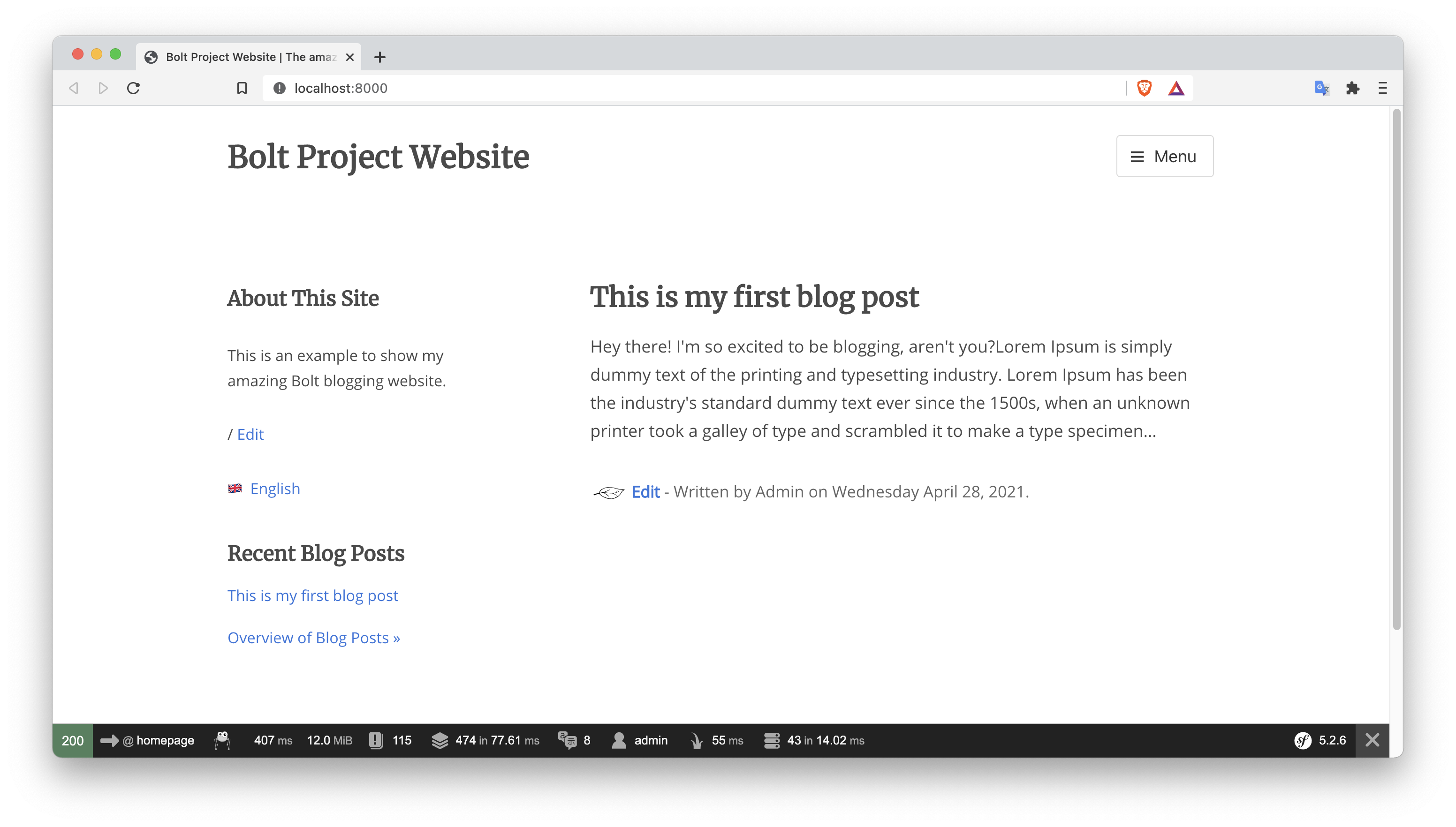 Your new blog built with Bolt CMS