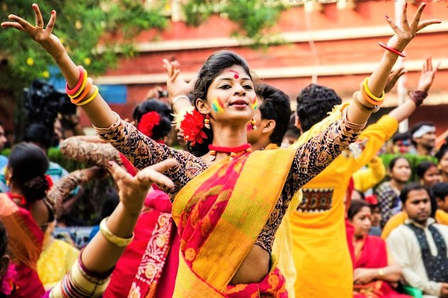 Image result for Shantiniketan holi