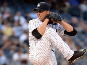 Chris Capuano pitching for the Yankees in 2014.