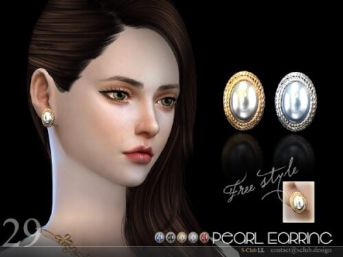 The Sims Resource - Earrings N29 by S-Club for The Sims 4