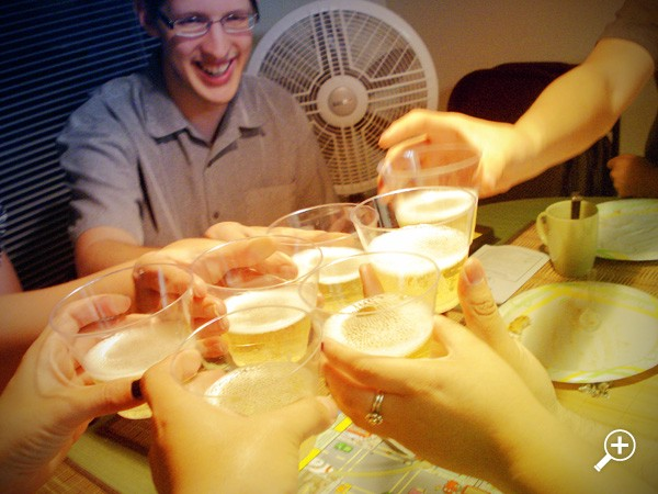 Toasting to the engagement