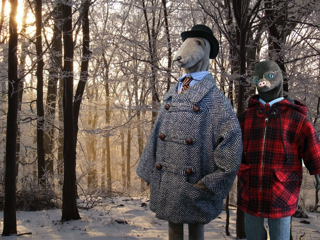 Photo of toy rat and mole in winter woodland