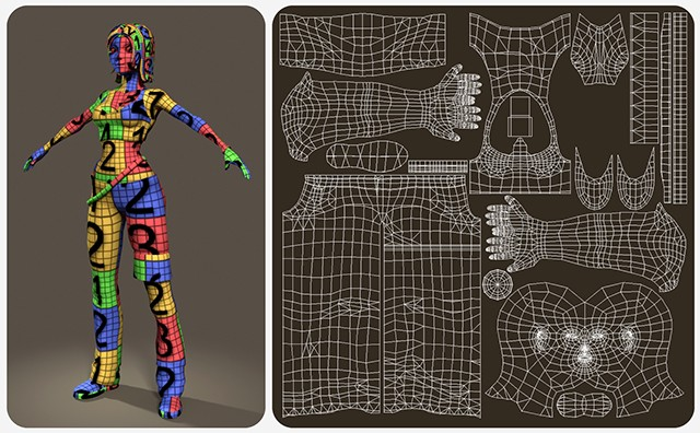 UV mapping, texturing and shaders, rigging and animation