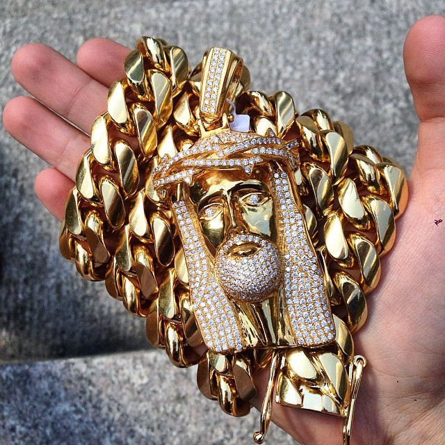 ye yellow gold colossal kilo men for half link miami chains chain cuban glod