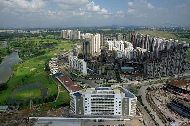 Arial view of Palava, a smart city spread across 4500 acres in India, located an hour drive from Mumbai airport. Courtesy of Indian real estate developer, Lodha Group.