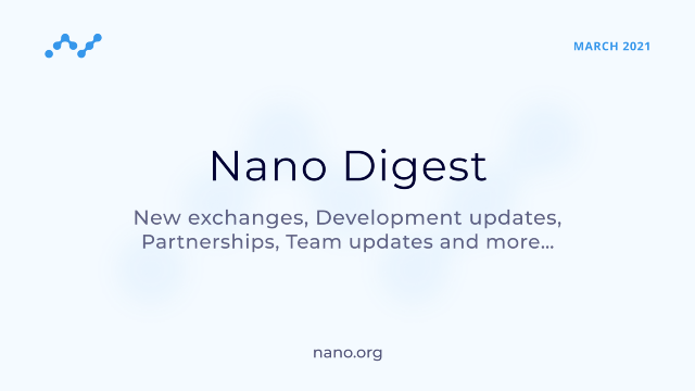 Nano Digest — New exchanges, Development updates, Partnerships, Team updates, and more…