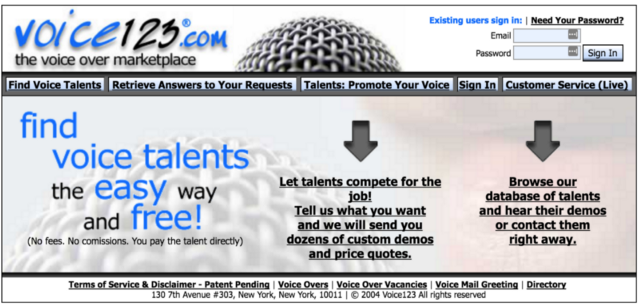 Image of Voice123 landing page