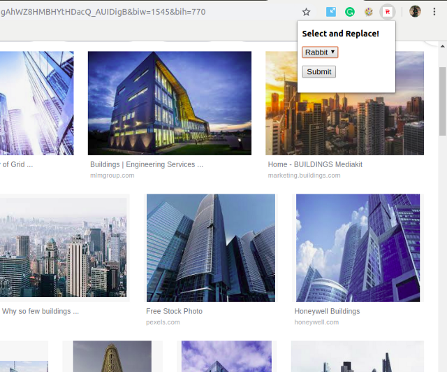 Chrome Extension the output replace images in a website