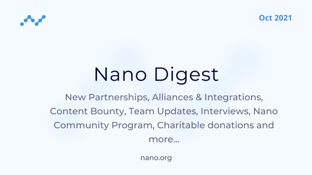 Nano Digest—CyberFirst, CryptoUK, CoinCloud DCM, NOWPayments PoS, Nano Community Program and…