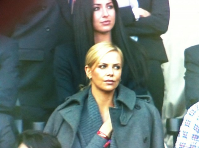 Charlize Theron watching Germany defeat Argentina in the 2010 World Cup