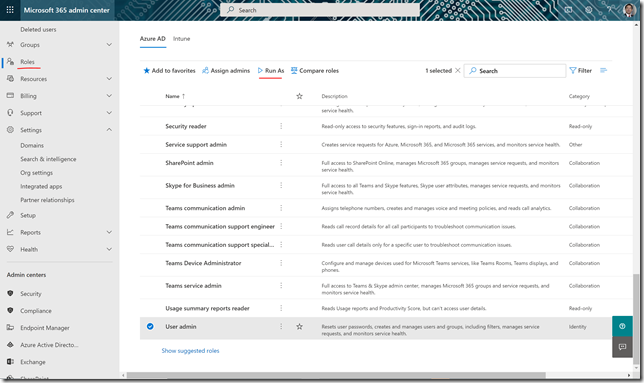 Run as feature for Microsoft 365 Admin roles