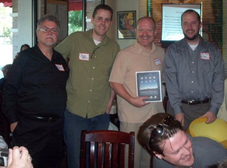 Yours truly with Bryan Person, iPad winner Charlie Nichols Browning, and Rob Quigley.