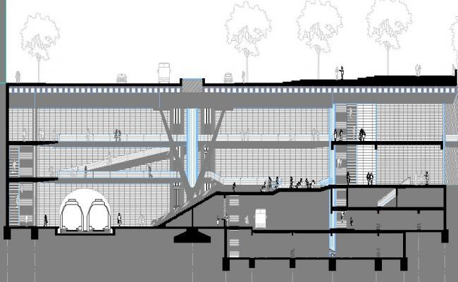 Front sectional details of shopping mall building dwg file