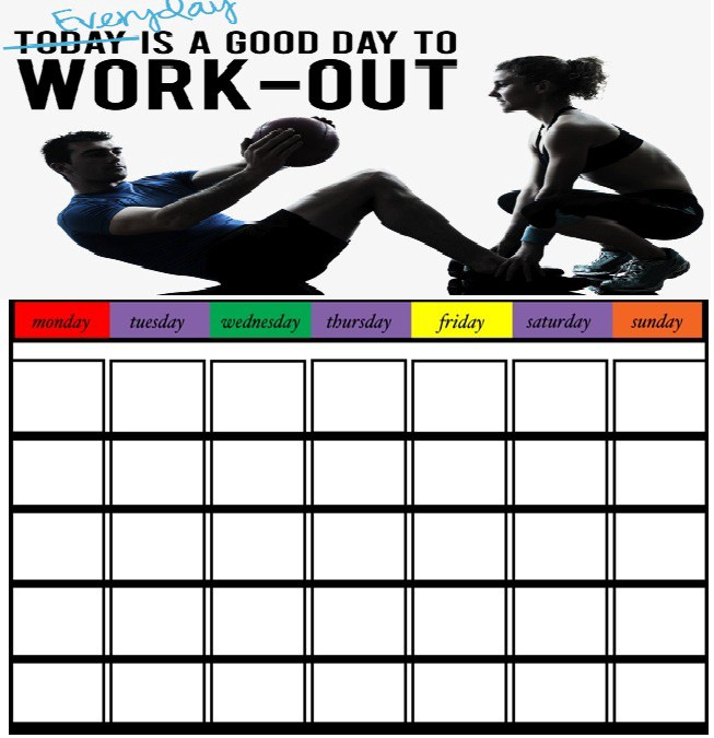 workout calendar template 30 days exercise chart diet plan