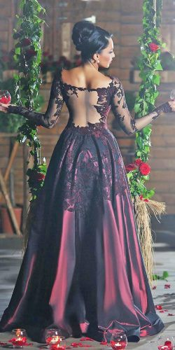 9b42b2718ff black and red a line long sleeves off the shoulder illusion back gothic  bridal dresses