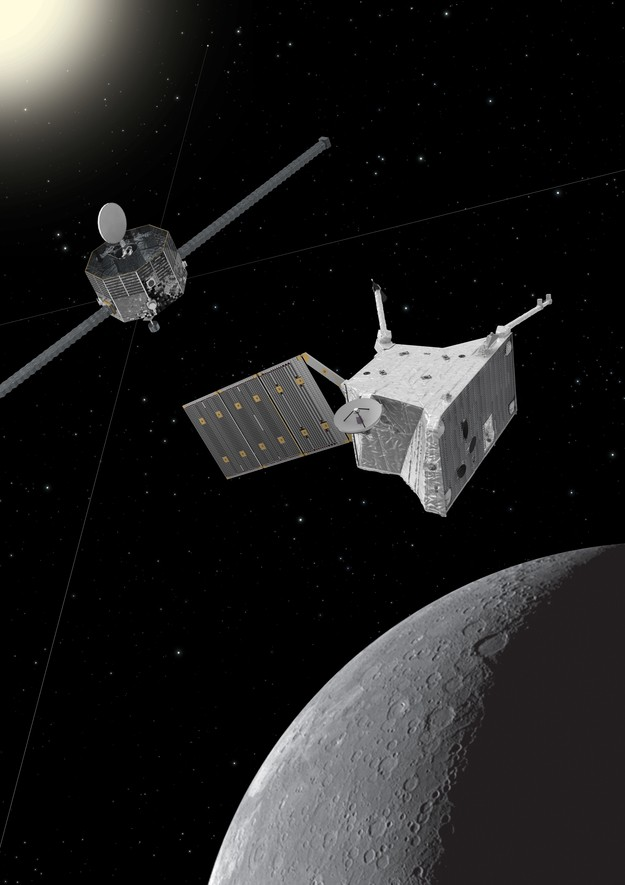 Artist's impression of the BepiColombo spacecraft at Mercury. Image credit: ESA/ATG medialab; Mercury: NASA/Johns Hopkins University Applied Physics Laboratory/Carnegie Institution of Washington.