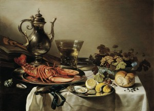 "Pieter Claesz ""Still Life with Silverware and Lobster"" 1641"