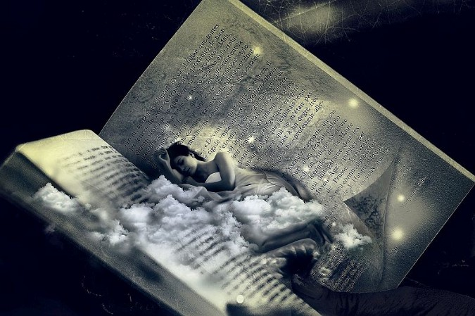 An open book with a sleeping woman atop a bed of clouds transposed in the center of the book.