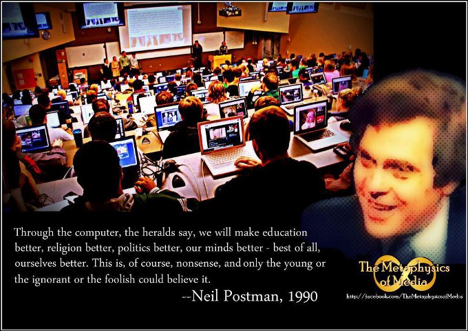 """critique of neil postman technolopoly Neil postman asserts that """"technology is a friend"""" but spends the entire book showing that it is a monster that controls humankind we have been technopolized, dominated by technology running."""