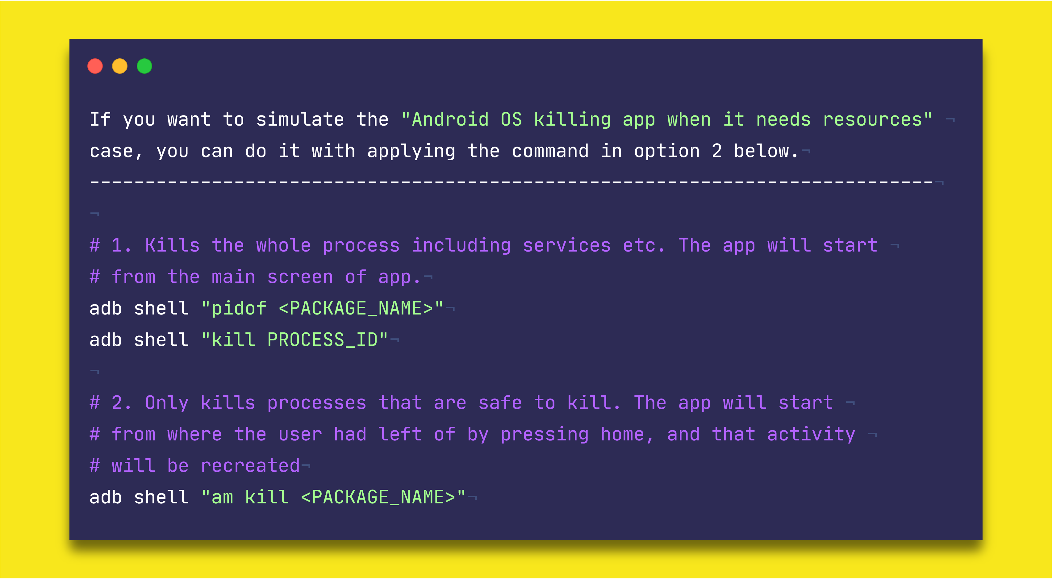 "The summary of ""adb shell kill"" and ""adb shell am kill"" commands — Image Credits: https://twitter.com/WajahatKarim/status/1240675083003334656"