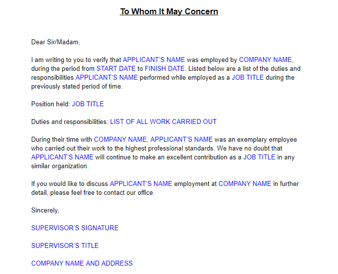 How do I write an experience letter when applying for Green Card