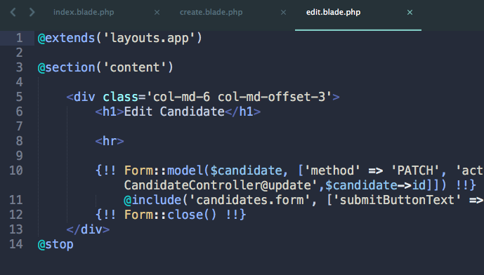 Laravel 5.3 Form Helpers and CRUD Controller Methods