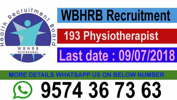 Wbhrb Recruitment 193 Physiotherapist Grade Iii Vacancy Wbhrb In