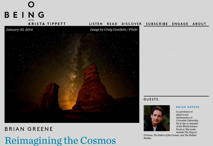 Screenshot of Podcast page: Brian Greene on On Being 2014