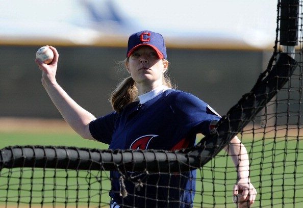 GOODYEAR, AZ - FEBRUARY 21:  Justine Siegal throws batting practice to the Cleveland Indians at Goodyear Ballpark on February 21, 2011 in Goodyear, Arizona.  (Photo by Norm Hall/Getty Images)