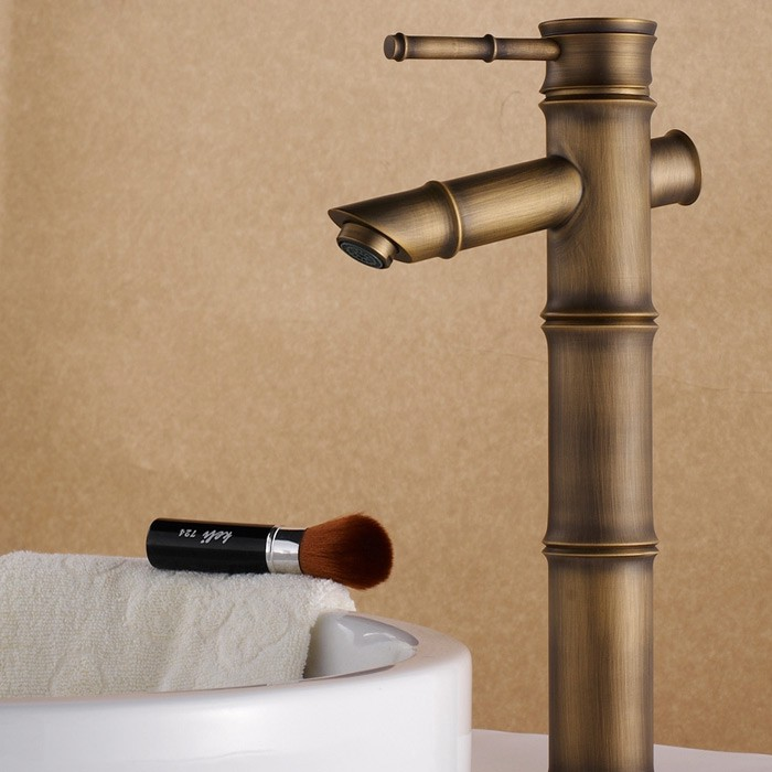 Review Bamboo Vessel Single Hole Faucet In Classic Look Antique Brass