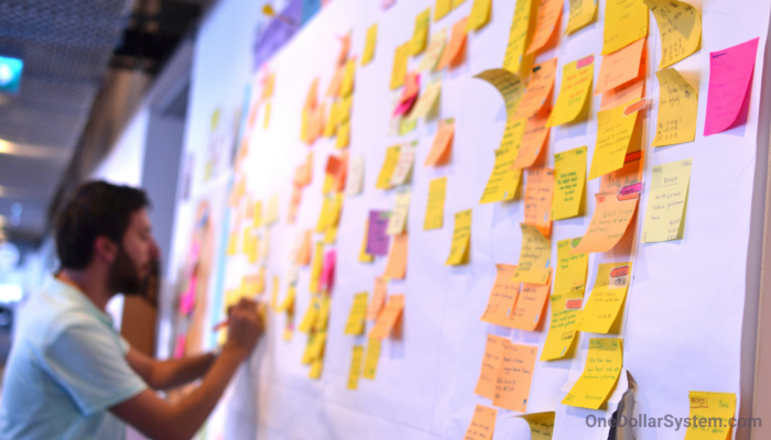 Learn Agile - a kanban board with posts it and someone writing in the distance.