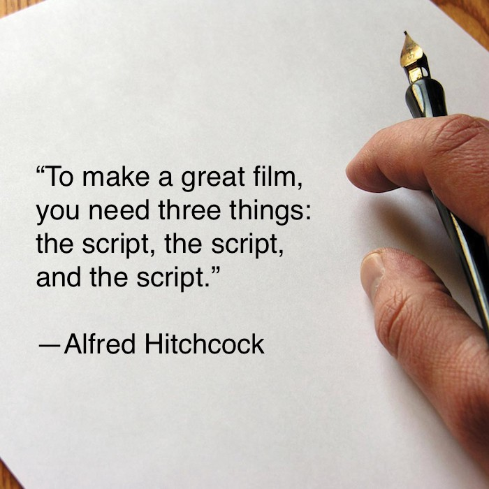 my one note of screenwriting advice is make sure you can see the movie before you start writing the actual script