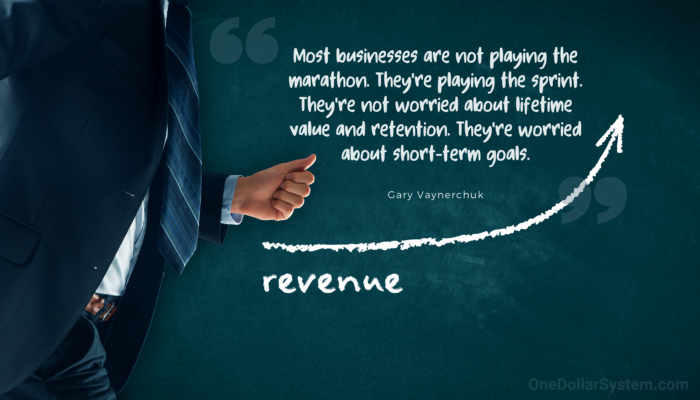"""Recurring Revenue. """"Most businesses are not playing the marathon. They're playing the sprint. They're not worried about lifetime value and retention. They're worried about short-term goals."""" Gary Vaynerchuk"""