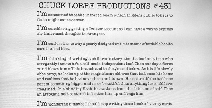 Chuck Lorre Maybe You Should Stop Writing Those Vanity Cards