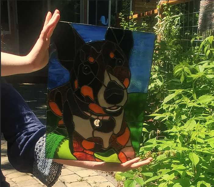 Making a Stained Glass Portrait of My Daughter's Dog, Lupin!