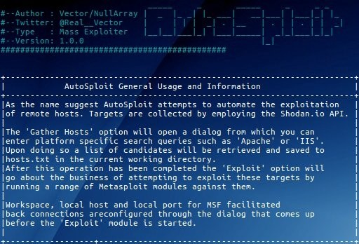 e44839f51 The recent release of the new hacking tool  AutoSploit  marks the dawn of a  new era for unskilled attackers. It provides a fully-automated system for  ...