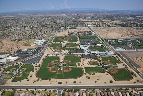 The view from above of the Rangers' and Royals' complex in Surprise, Arizona.