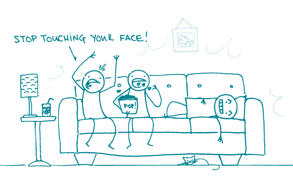 "Doodles sit on the couch watching ""Contagion"" — one eats popcorn and another shouts, ""Stop touching your face!"""
