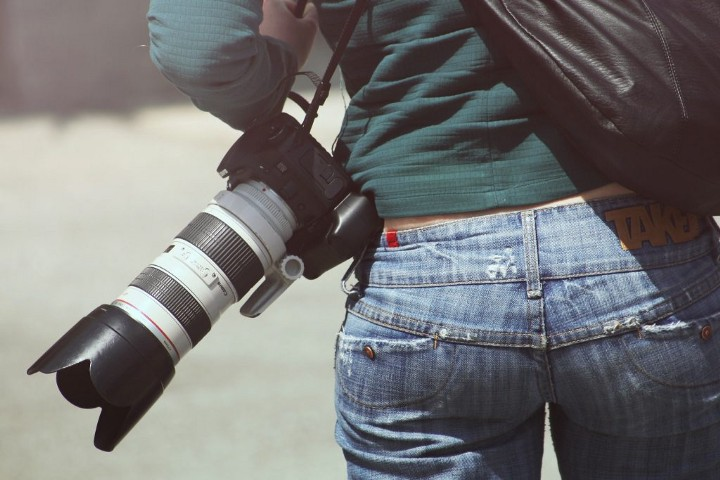 camera hanging from a person's hip