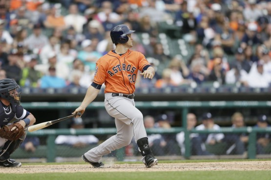 Houston Astros' Preston Tucker hits a home run during the ninth inning of a baseball game against the Detroit Tigers, Thursday, May 21, 2015, in Detroit. (AP Photo/Carlos Osorio)