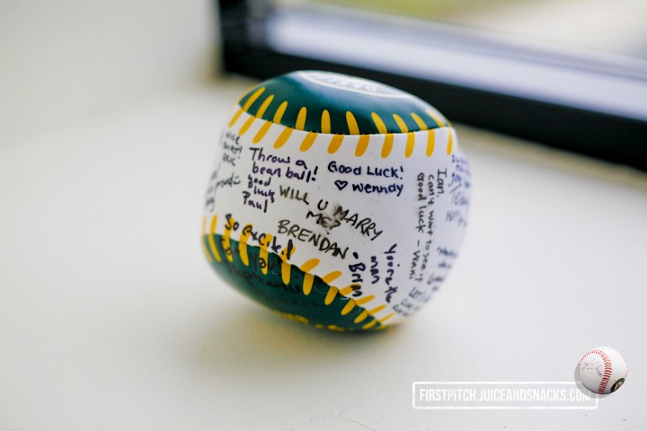 CompareNetworks autographed an A's novelty baseball