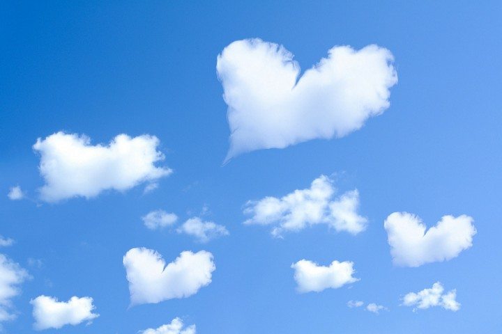 clouds in the shape of hearts
