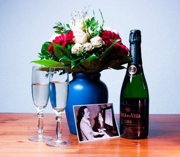 champagne and glasses still life