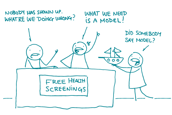 "2 doodles at a ""Free Health Screening"" booth say, ""Nobody has shown up, what're we doing wrong?"" ""We need a model!"" as a 3rd doodle arrives with a small model ship, saying ""Did somebody say model?"""