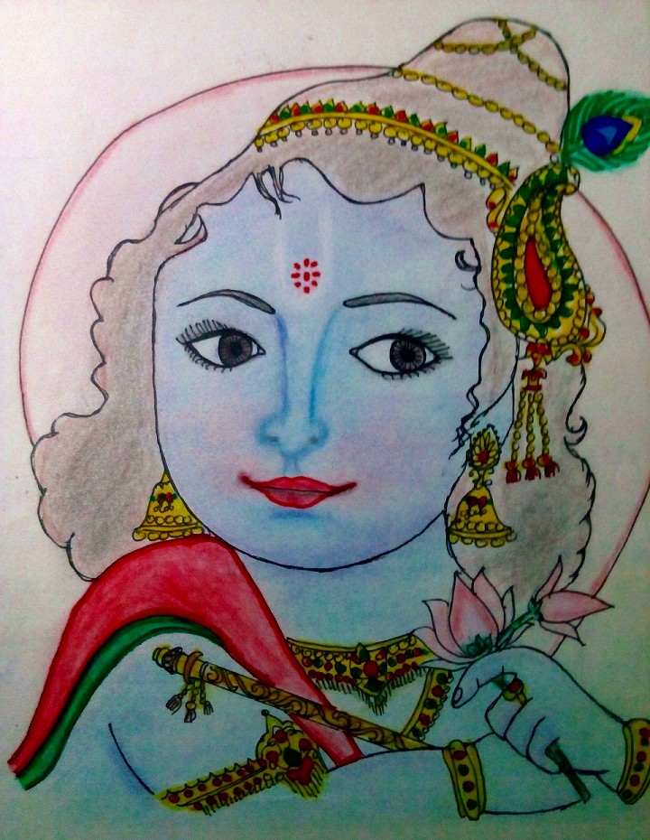 Color pencil drawing hindu god krishna