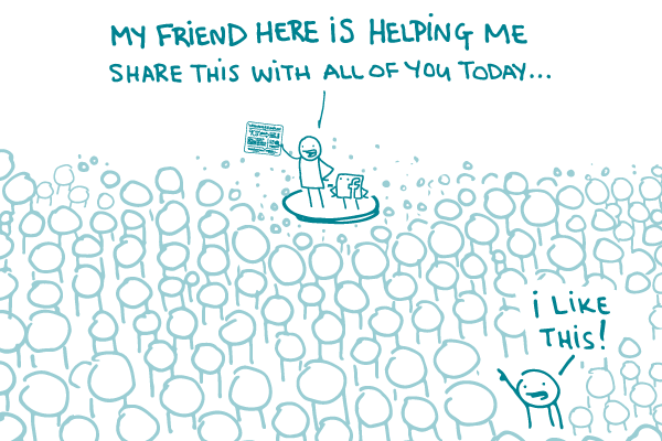"""A doodle stands on a platform next to the Facebook logo, holding an infographic, telling the assembled crowd """"My friend here is helping me share this with all of you today"""" as a person in the crowd says """"I like this!"""""""